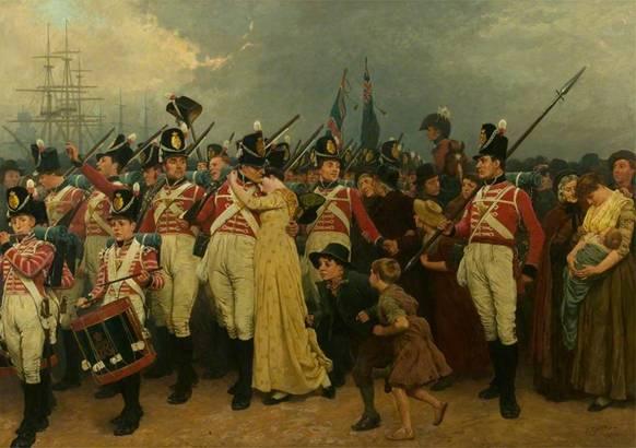 Charles Green: la ragazza lasciata indietro 1880 Soldati che si imbarcano per le guerre napoleoniche