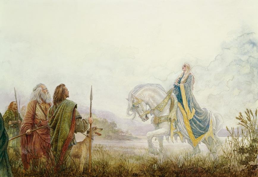 Oisin a caccia incontra Niamh sul suo bianco cavallo