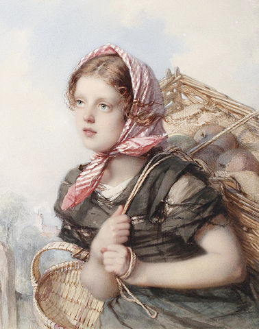 Guido Bach (1828-1905) Portrait of young peasant girl 1860-1866