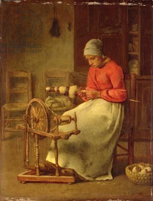 The Spinning Wheel, c.1855 (oil on panel)