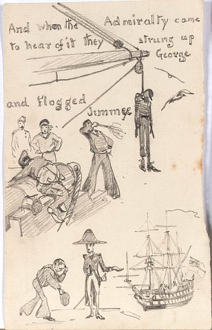 Three-small-drawings-illustrating-a-cautionary-tale-about-Three-Sailors-from-Bristol.-Sailor-hanged-from-the-yard-arm-sailor-being-flogged-and-humble-sailor-with-an-admiral