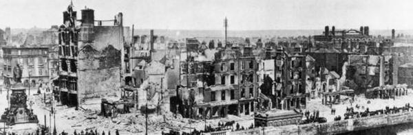 Il centro di Dublino dopo l'Easter Rising