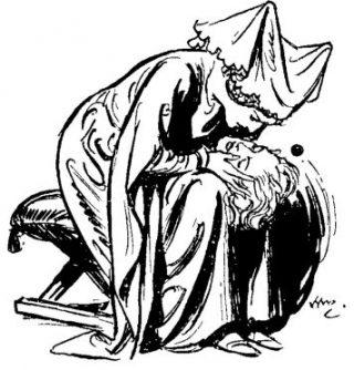 Child Maurice dama piange sulla testa tagliata