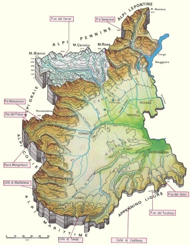 mappa orografica piemonte