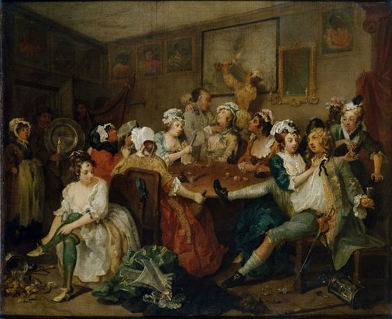 The Rake's Progress - Orgies - (1735) painting by William Hogarth, English painter and artist November 10, 1697 -October 26, 1764. Courtesy of Sir John Soane's Museum, London. A series of engravings depicting Tom Rakewell's life and his descent into madness. Tom marries a rich lady. Stravinsky connection.