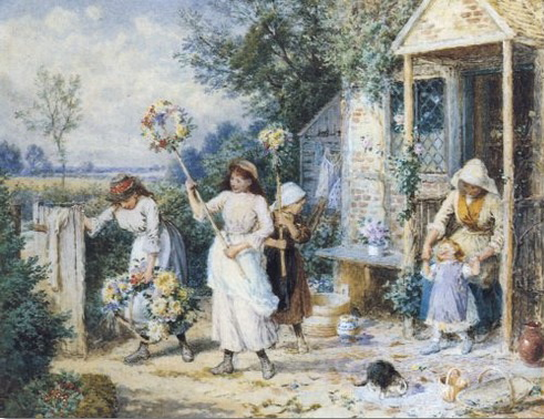 victorian-art-artist-painting-print-by-myles-birket-foster-first-of-may-garland-day